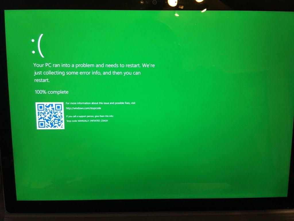 Windows 10下一版Insider更新的重大改變:藍底白字當機畫面變成綠底白字