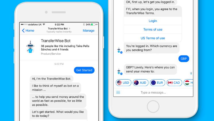 國際P2P匯兌服務TransferWise現在可以直接在Facebook Messenger跨國轉帳給好友