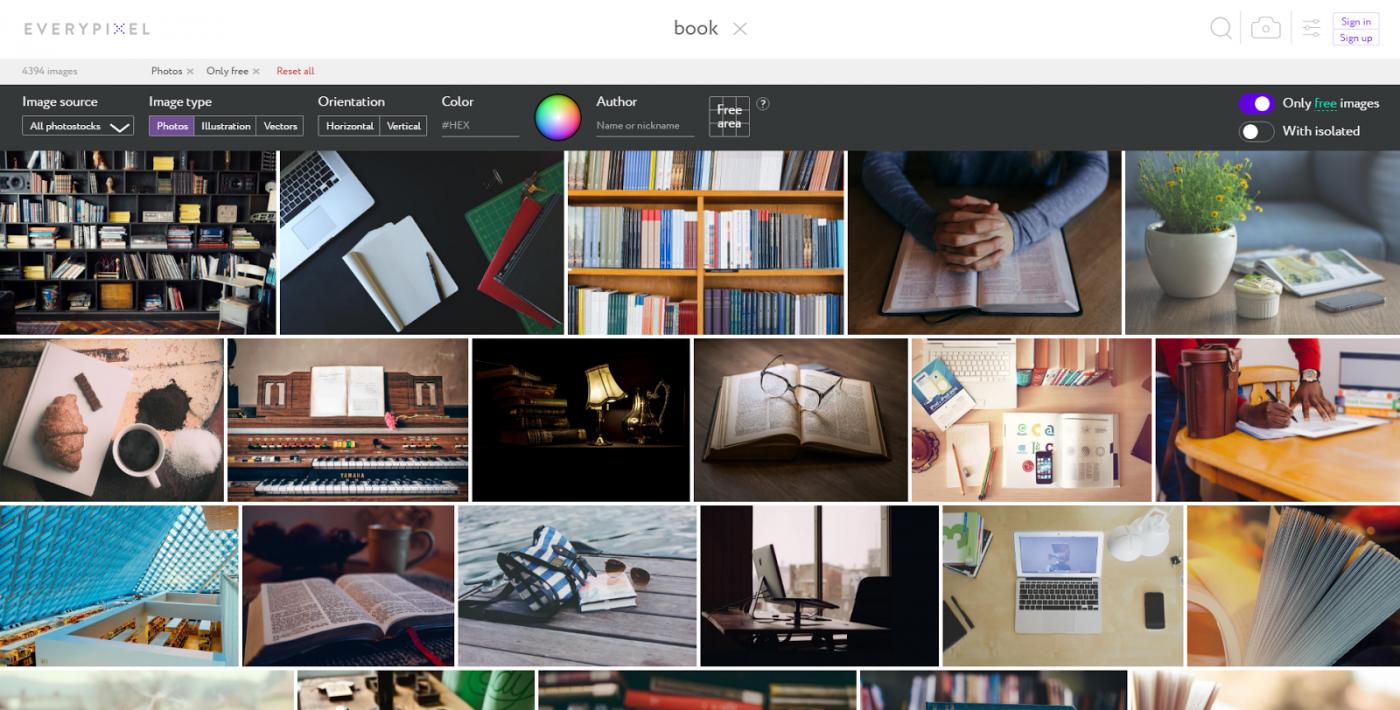 更聰明的免費圖片素材搜尋引擎Everypixel,用AI排除俗氣照片