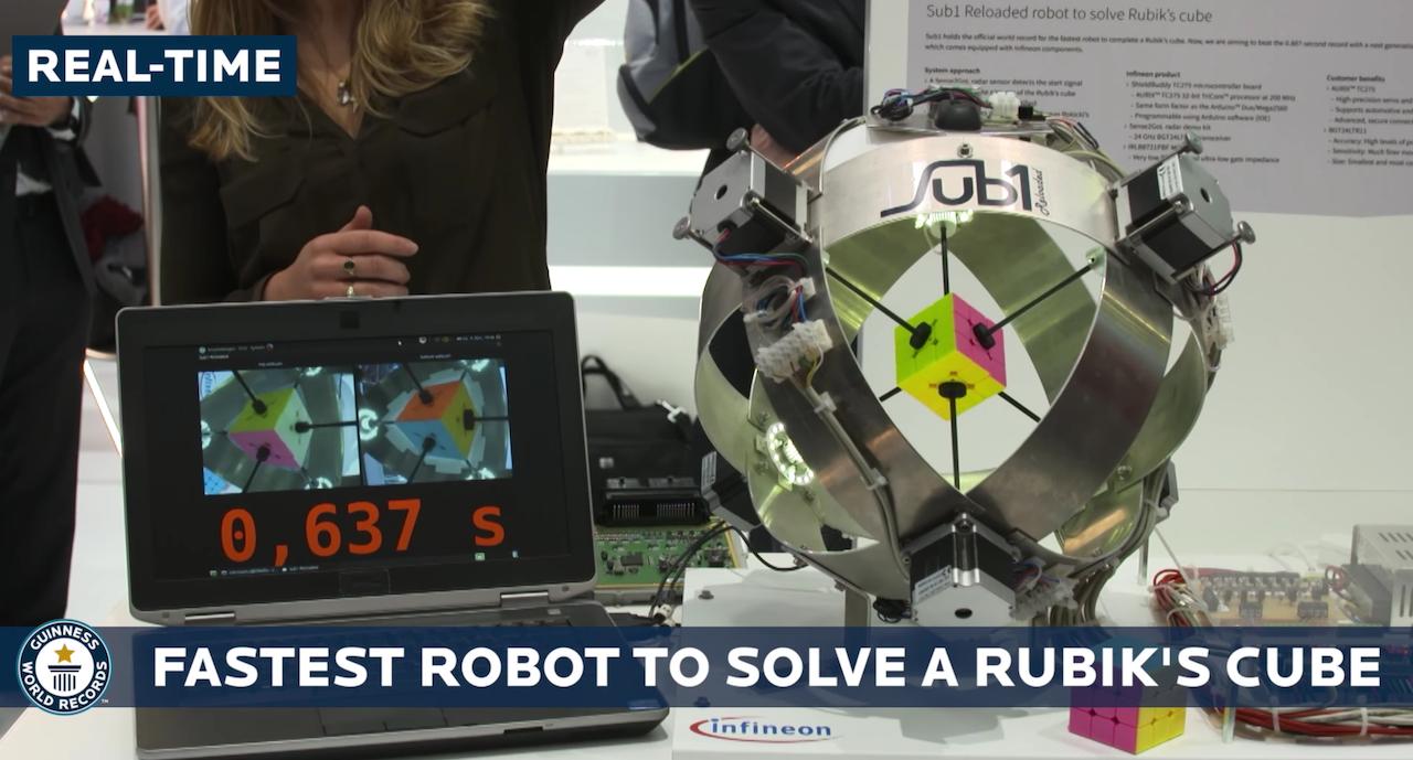 再次刷新金氏世界紀錄!這個德國機器人復原魔術方塊只用了0.637秒