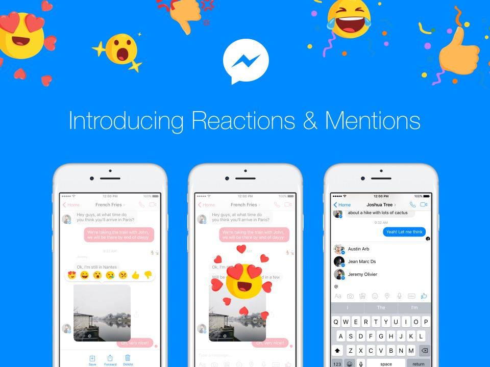 新功能連發!Facebook Messenger加入「@標記」、聊天訊息按「大心」、「不喜歡」