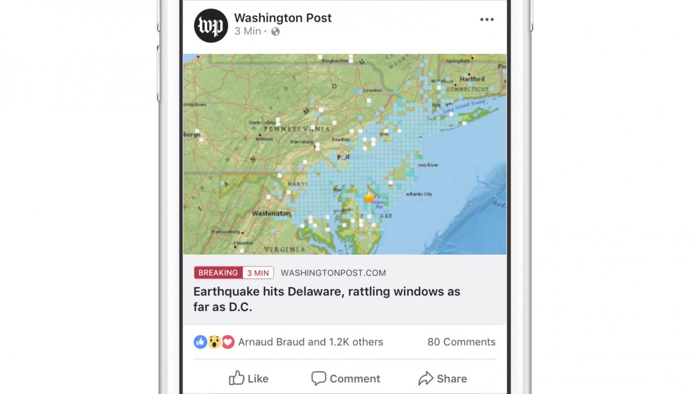 一天只能用一次!Facebook為媒體出版者的貼文增加「緊急頭條」標籤