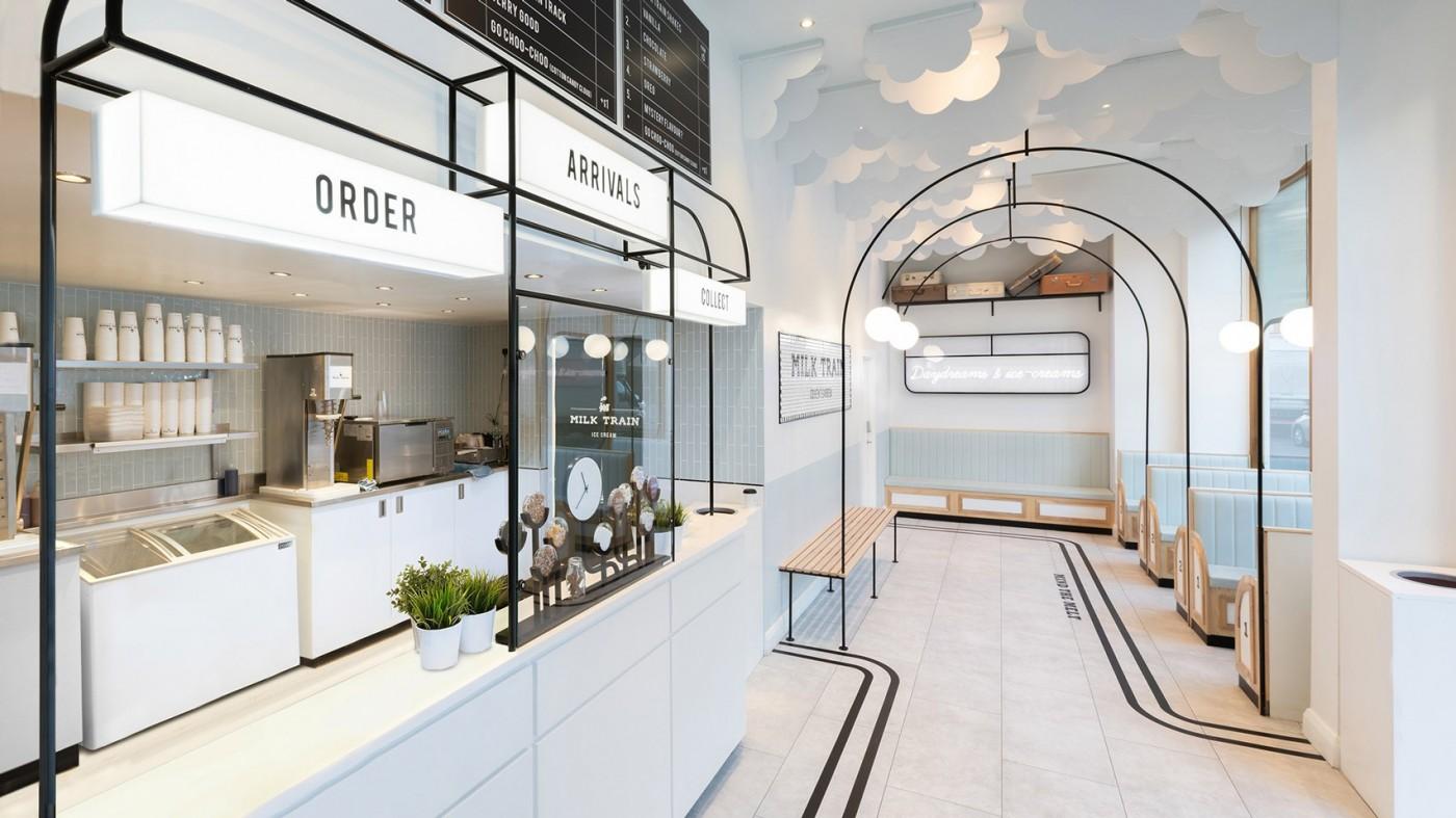 店面设计| 以火车做为灵感,伦敦云朵冰淇淋店面设计