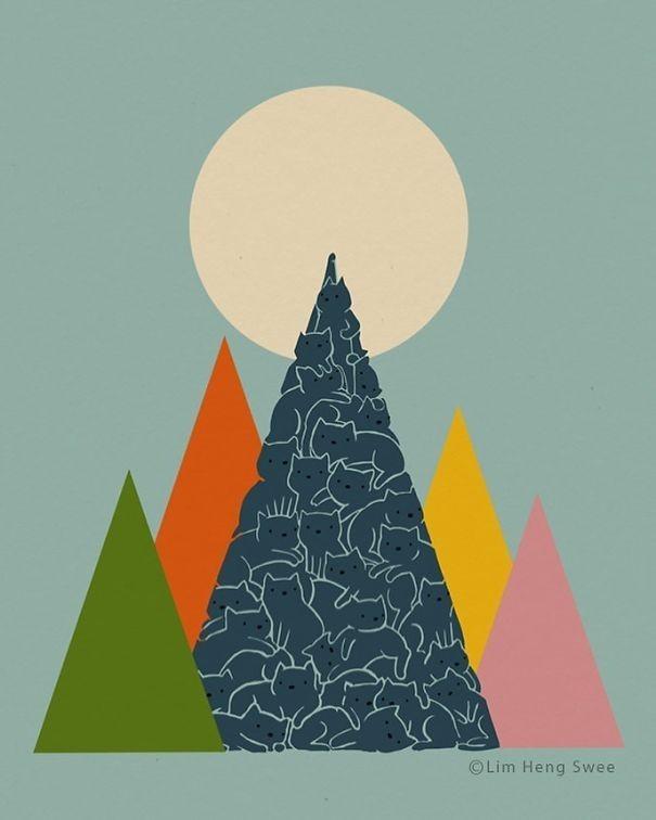 """img 1582700629 50646@900 - 风景里的躲猫猫!积雪、浪花、岛屿都有猫,马来西亚艺术家""""猫风景""""系列插画"""