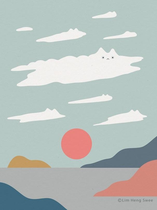 """img 1582700632 78474@900 - 风景里的躲猫猫!积雪、浪花、岛屿都有猫,马来西亚艺术家""""猫风景""""系列插画"""