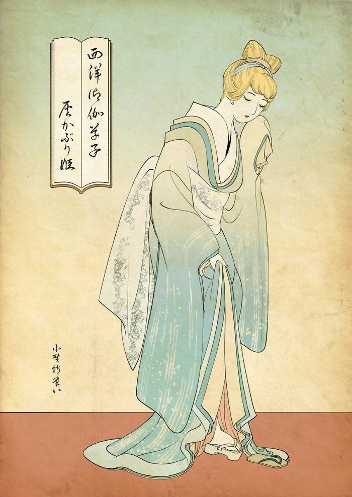 img 1586336661 41212@900 - 浮世绘版《迪士尼公主》!日本插画家创作美人图:为白雪公主换和服、灰姑娘穿木屐