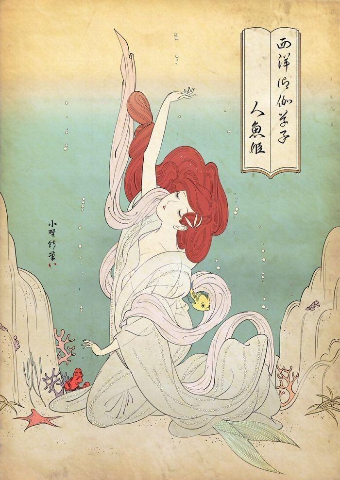 img 1586336665 99250@900 - 浮世绘版《迪士尼公主》!日本插画家创作美人图:为白雪公主换和服、灰姑娘穿木屐