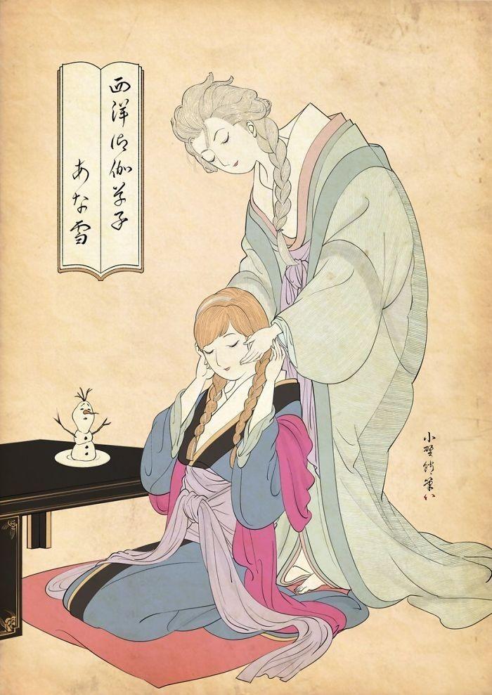 img 1586336669 76448@900 - 浮世绘版《迪士尼公主》!日本插画家创作美人图:为白雪公主换和服、灰姑娘穿木屐