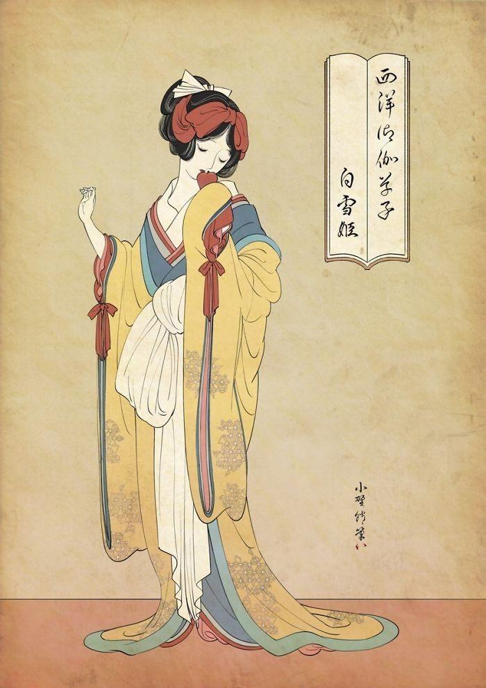 img 1586336675 62687@900 - 浮世绘版《迪士尼公主》!日本插画家创作美人图:为白雪公主换和服、灰姑娘穿木屐