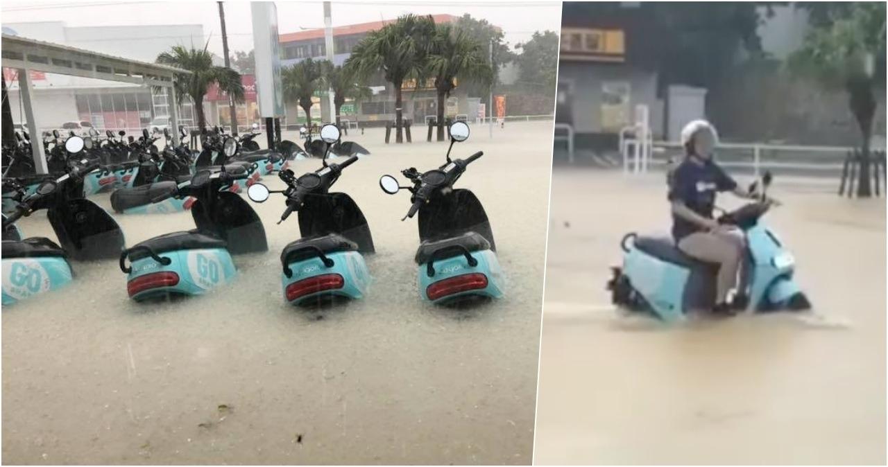 暴雨照樣騎Gogoro去逛大街,日本網友認證GoShare原來是「水陸兩用」!