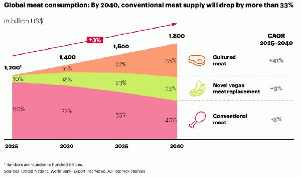 圖8-全球肉類及替代肉類市場分佈,2040年替代肉類將佔肉類市場的6成。圖片來源:截自A.T.-Ke