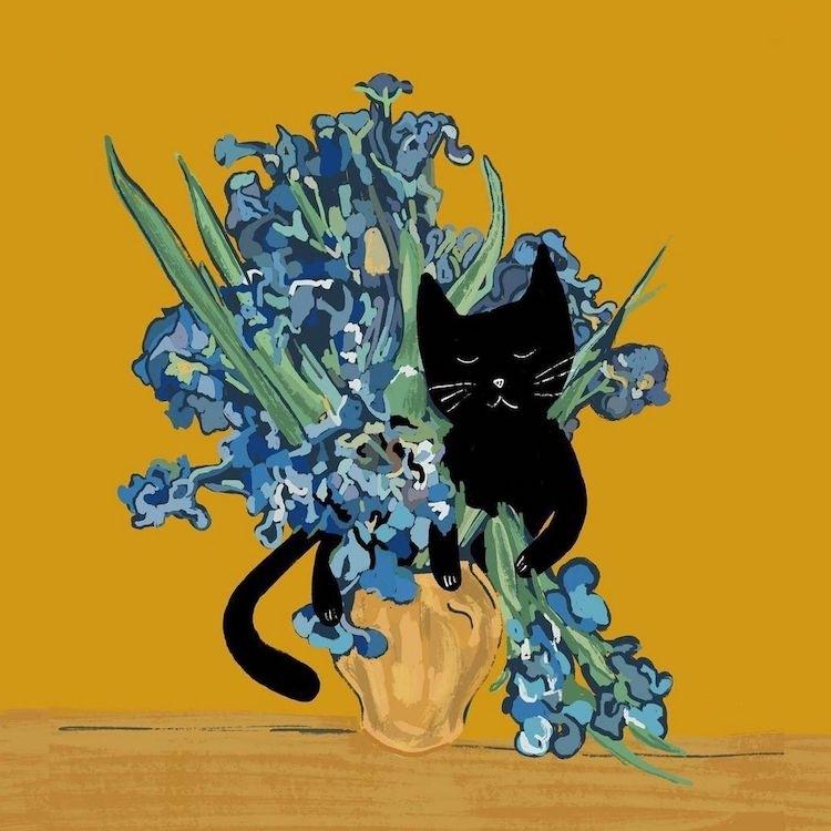 貓亂入名畫!跳入莫內睡蓮池、撫弄梵谷鳶尾花,插畫家結合愛貓與藝術的奇想世界