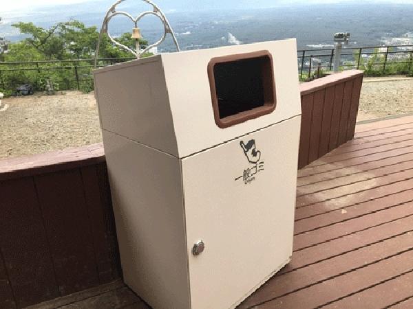 安裝在富士山河口湖纜車周邊的智慧垃圾桶