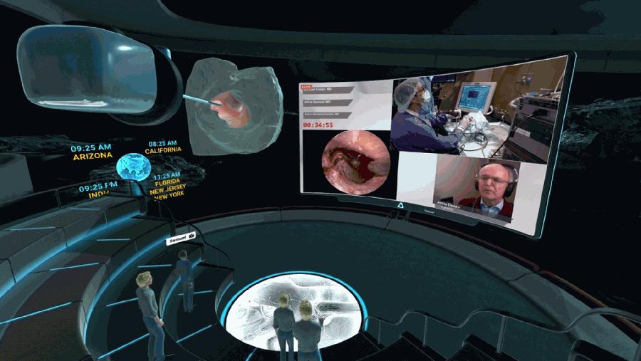 於VIVE Sync虛擬會議平台中結合大螢幕、3D結構模型進行跨地區醫療團隊研究討論.jpg