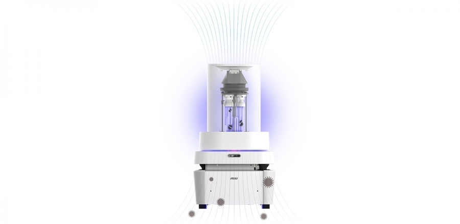 MSI 智能防疫消毒機器人。